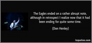 The Eagles ended on a rather abrupt note, although in retrospect I ...