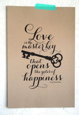 Love is the Master Key Art Print on Etsy, $25.00