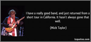 really good band, and just returned from a short tour in California ...
