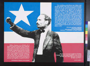 ... (Pedro Albizu Campos against Puerto Rican flag surrounded by quotes