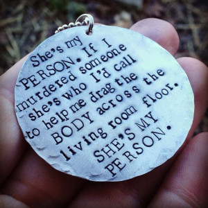 hand stamped greys anatomy inspired she's my person necklace on Etsy ...