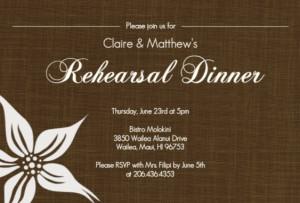 Brown rehearsal dinner invitation by PurpleTrail.