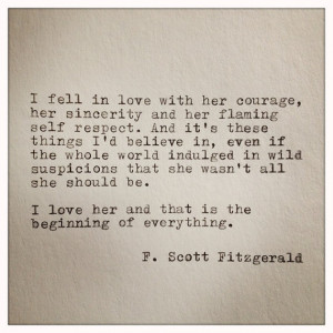 Scott Fitzgerald Love Quote Made On Typewriter