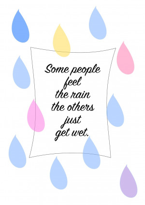 Free printable quote wall art about rain - ausdruckbares Spruchposter ...