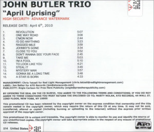 The John Butler Trio, April Uprising, US, Promo, Deleted, CD-R acetate ...