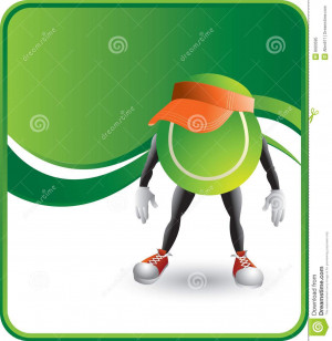 Cartoon Tennis Racket And Ball