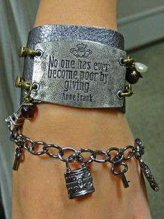 Wide Gun Metal Leather Band with Quote by Anne Frank in Antique ...