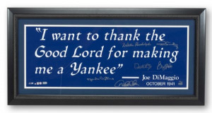 NEW YORK YANKEES CAPTAINS SIGNED DIMAGGIO LIMITED EDITION (6/13) QUOTE ...
