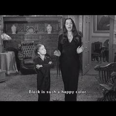 ... black clothing style morticia addams addams family happy colors movie