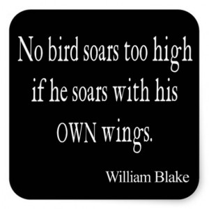 Vintage William Blake Bird Soar Own Wings Quote Square Stickers