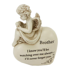 Graveside Memorial Cherub Heart Plaque BROTHER Preview