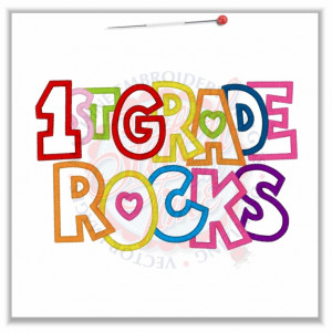 4842 Sayings : 1st Grade Rocks Applique 5x7