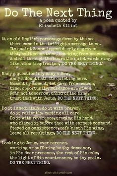 poem often quoted by Elisabeth Elliot. Very well done I might add ...