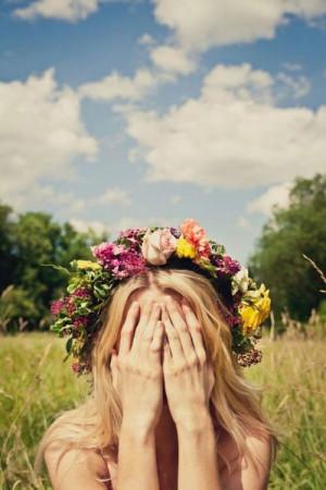 flower, flower crown, girl, hipster, landscape, pink, summer
