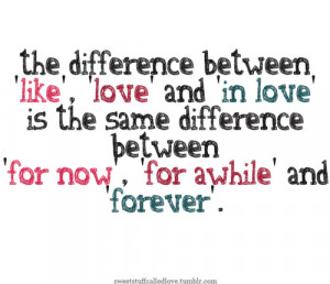 between 'like', 'love' and 'in love' is the same difference between ...