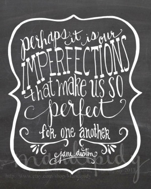 Perfect For Each Other - Jane Austen Quote - Vintage Chalkboard ...