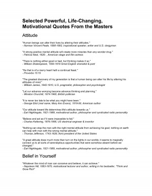 Selected Powerful, Life-Changing, Motivational Quotes From the Masters ...