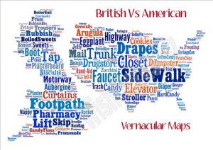 Maps of UK Vs US Words - Funny Slang Phrases: English, American ...