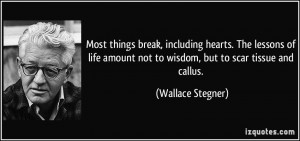 ... amount not to wisdom, but to scar tissue and callus. - Wallace Stegner
