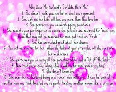 Does my Husband's Ex-Wife Hate Me? Love this! While she is not an ex ...