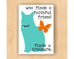 Cat Sihouette Magnet Faithful Friend Quote 2 x 3