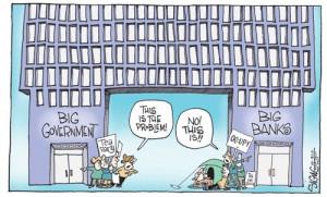 funny political cartoon government vs banks