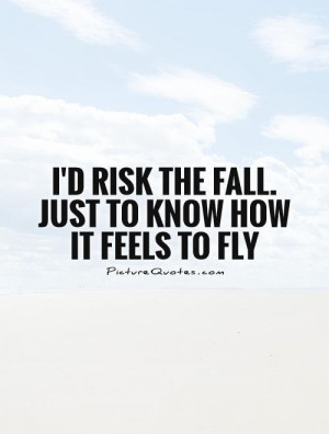 risk the fall just to know how it feels to fly Picture Quote 1
