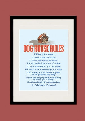 Kitchen art, Inspirational quote print, Dog House Rules, Wall poster ...