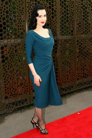 ... teal draped Dita Von Teese Muse dress & Christian Louboutin shoes