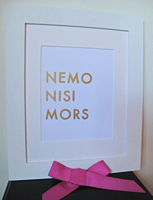 Latin Love Quote Nemo Nisi Mors Romantic by VelvetCrownDesign, $14.00