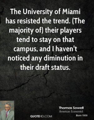 The University of Miami has resisted the trend. (The majority of ...