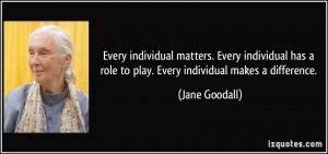 Every individual matters. Every individual has a role to play. Every ...