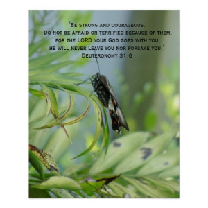 Courage Bible Verse Inspirational Butterfly poster