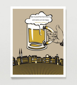 Typography Art Beer Art Drinking Quote Benjamin by Quotology, $18.00
