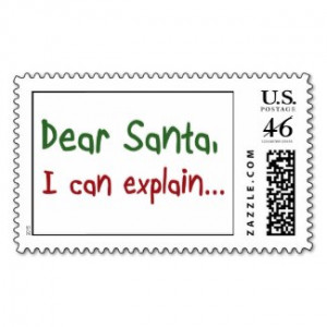 Funny Christmas santa quotes postage stamps gifts by Wise_Crack
