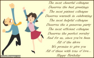 Sweet birthday poem for colleagues and co-workers