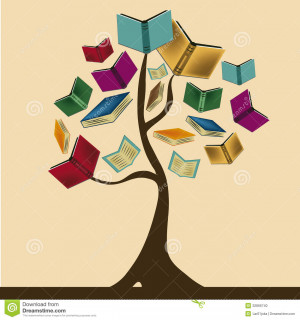 beautiful tree composed by books representing knowledge.