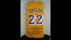 Elgin Baylor Signed Uniform - Stats LE 22 UDA