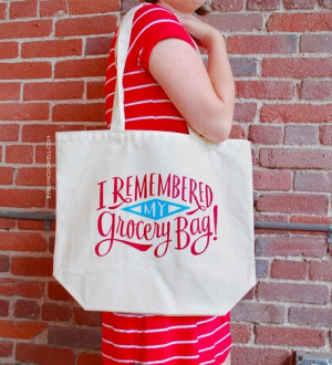 Remembered my Grocery Bag! reusable shopping bag at Emily McDowell