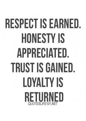 respect, honesty, trust, loyalty