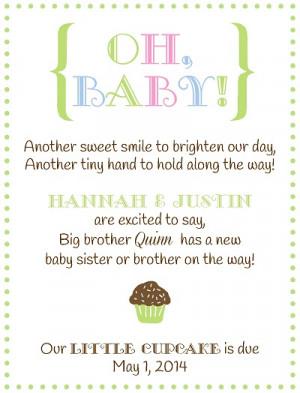 Pregnancy Announcement Poems Sibling pregnancy announcement