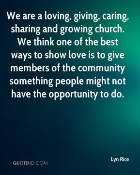 Lyn Rice - We are a loving, giving, caring, sharing and growing church ...