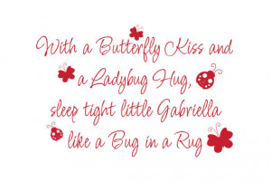 Kiss Ladybug Hug Sleep Tight like Bug in a Rug Vinyl Wall Decal Quote ...