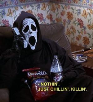 scream scary movie mask Doritos chillin grim reaper 40 oz killin
