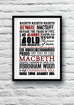 SHAKESPEARE Poster, Macbeth Poster, Shakespeare quote poster, Witches ...