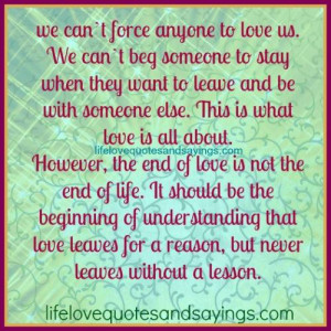 We Can't Force Anyone To Love Us..