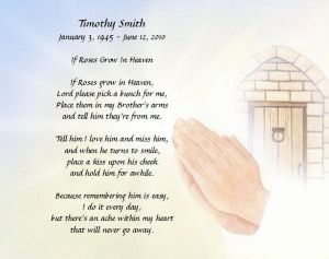 Personalized Memorial Poem For Loss Of Brother