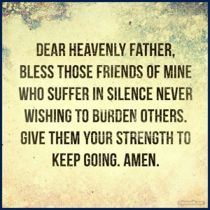 For those who suffer in silence.