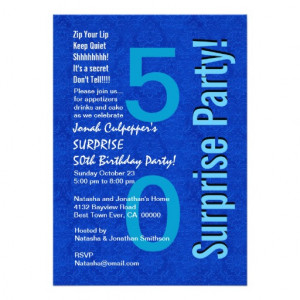 SURPRISE 50th Birthday Royal Blue B400 Custom Invitation from Zazzle ...