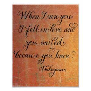 Romantic Shakespeare quote calligraphy print